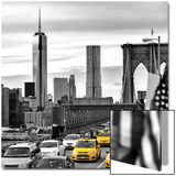 Yellow Taxi on Brooklyn Bridge Overlooking the One World Trade Center (1WTC) Acrylique par Philippe Hugonnard