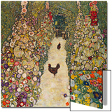 Garden Path with Chickens, 1916, Burned at Schloss Immendorf in 1945 Acrylique par Gustav Klimt