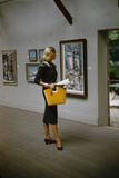 Model in a David Goodstein-Designed Outfit  Looks at Paintings in a Museum  New York  1954