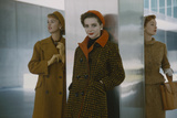 Models in Autumn Coats and Berets as They Pose Beside a Column in Lever House  New York  NY  1954