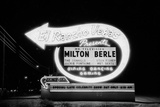 Lit Up Sign of El Rancho Vegas Advertising Milton Berle and Supporting Acts  Las Vegas  1958