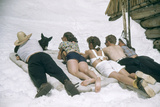 Skiers Sunbathing in Summer Fashions with Dog at Sun Valley Ski Resort  Idaho  April 22  1947