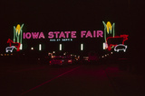 Nighttime View of the Illuminate Neon Sign at the Entrance to the Iowa State Fair  1955