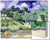 Thatched Cottages at Cordeville, Auvers-Sur-Oise, c.1890 Acrylique par Vincent Van Gogh