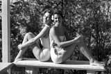 Celia Kyllingstad (R) and Carol Hall (L)  at a Private Pool  Seattle  Washington  1960
