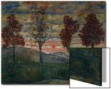 Quatre arbres, 1917 Acrylique par Egon Schiele