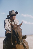 American Actor Rock Hudson on a Horse During the Filming of 'Giant'  Near Marfa  Texas  1955