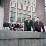 Midwest College Men's Fashion: Zipper Jackets Worn over Button Down Shirts with Sweater Vests  1954