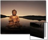 Bouddha couleur or au bord du lac Acrylique par Jan Lakey