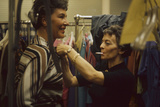 Designer's Aide Fritzi De Majo  of Sacony  Adjusts the Model's Clothing  New York  NY  1960
