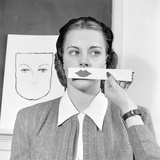Young Woman at Stephens College Sampling Different Shades of Lipstick  Columbia  Missouri  1945