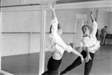 American Actress Debbie Reynolds Watches Herself in a Mirror During a Dance Rehearsal  1960