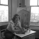 American Artist Honore Desmond Sharrer (1970 - 2009) in Her Studio  February 1950