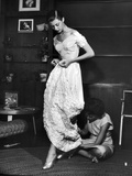 Eileen Ford Repairing a Gown So Model Barbara Mullen Can Wear it to a Party  New York  NY  1948