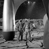American Actors John Archer (L) and Warner Anderson on Set of 'Destination Moon'  1950