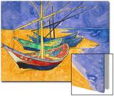 Fishing Boats on the Beach at Saintes-Maries-De-La-Mer Acrylique par Vincent Van Gogh
