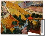 Landscape with House and Ploughman, 1889 Acrylique par Vincent Van Gogh