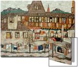 Maison avec le linge séchant, 1917 Acrylique par Egon Schiele