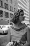 Woman Wearing Striped Shirt Modeling the Page Boy Hair Style on City Street  New York  NY  1955