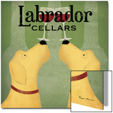 Two Labrador Wine Dogs Square