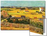 Harvest at La Crau with Montmajour in the Background Acrylique par Vincent Van Gogh
