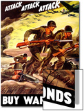 World War II Propaganda Poster of Soldiers Assaulting a Beach with Rifles