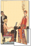 Woman Playing Piano, 1922 Acrylique par Georges Barbier