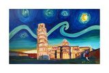 Starry Night in Pisa with Leaning Tower