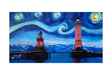 Starry Night in Lindau with Lion and Lighttower