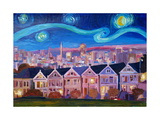 Starry Night with Painted Ladies San Francisco