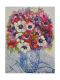 Anemones in a Blue and White Pot  with Blue and White Textile