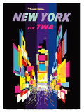 New York - Fly TWA - Times Square - Lockheed Constellation Connie Reproduction d'art par David Klein