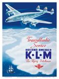 KLM Transatlantic Service - Holland America - KLM Royal Dutch Airlines Reproduction d'art par Paulus C. Erkelens
