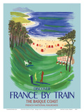 Discover France by Train - The Basque Coast - French National Railways Reproduction d'art par Bernard Villemot