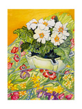 Pale Primrose in a Pot with Spring-Flowered Textile  2000