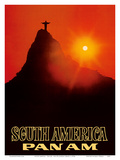 South America - Pan American World Airways - Rio De Janerio  Brazil - Christ the Redeemer Statue
