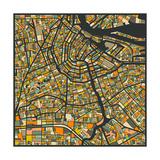 Amsterdam Map Reproduction d'art par Jazzberry Blue