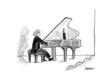 Grand piano held open with human arm - New Yorker Cartoon