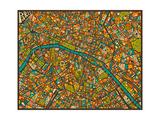 Paris Street Map Reproduction d'art par Jazzberry Blue