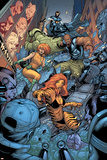 Avengers: The Initiative No26 Group: Tigra  Ultragirl  Gauntlet and Justice Jumping