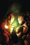 Avengers: The Initiative No12 Cover: Iron Man and War Machine Fighting and Flying