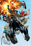 Avengers: The Initiative No2 Cover: War Machine  Gauntlet  Komodo  Cloud 9  Trauma and Hardball