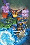 Marvel Team-Up No11 Cover: Hulk  Wolverine  Dr Strange and Nova