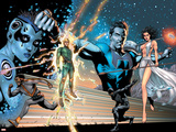 Squadron Supreme Saga Cover: Hyperion  Nighthawk  Rice  Kingsley  Zarda  Dr Spectrum and Blur