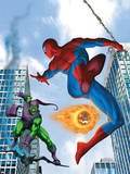 Spider-Man and Green Goblin Fighting in the City; Throwing Flaming Pumpkin