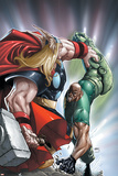 Avengers: The Initiative No22 Cover: Thor and Gauntlet