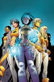New X-Men No1 Cover: Ashido  Noriko  Wind Dancer  Prodigy and New X-Men Fighting
