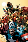 Ultimates Annual No1 Cover: Captain America  Rocketman  Iron Man  Goliath and Ultimates Crouching