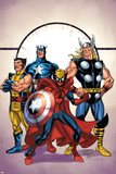 Marvel Adventures The Avengers No39 Cover: Spider-Man  Thor  Wolverine and Captain America