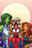 Marvel Adventures Super Heroes No13 Cover: Spider-Man  She-Hulk and Tigra
